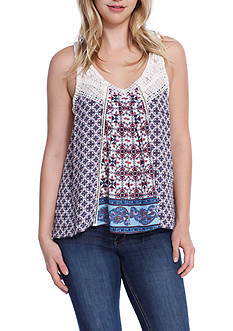 Taylor & Sage Tank Lace Top with Patchwork Lace Trim