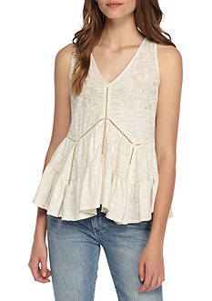 Taylor & Sage Embroidered Tiered V-Neck Tank