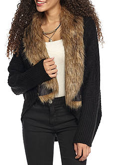 Taylor & Sage Faux Fur Lined Cardigan