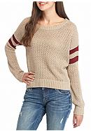 Taylor & Sage Rugby Stripe Pointelle Sweater