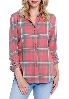 Taylor & Sage Plaid Lace Back Shirt