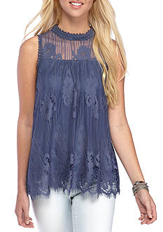 Taylor & Sage Crochet High Neck Tank