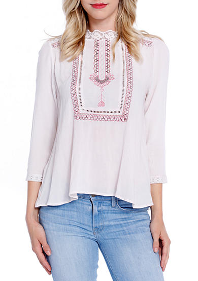 Taylor & Sage Victorian Embroidered Blouse
