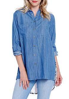 Taylor & Sage Chambray Scarf Button Down Top