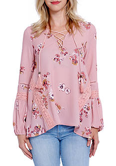 Taylor & Sage Lace-Up Floral Peasant Top