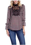 Taylor & Sage Printed Mock Neck Blouse With