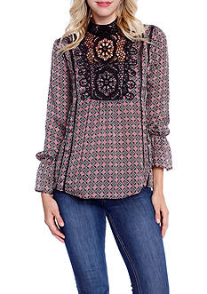 Taylor & Sage Printed Mock Neck Blouse With Crochet Front Inset