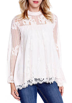 Taylor & Sage High Neck Lace Swing Top