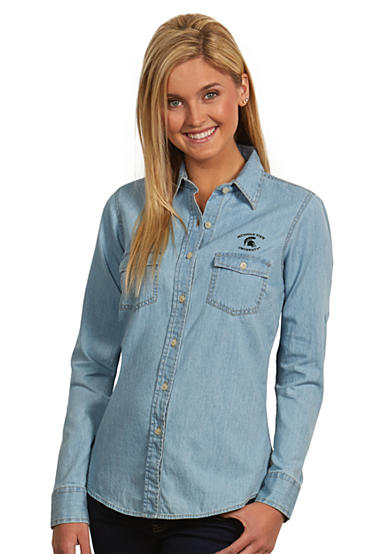 Antigua® MSU Spartans Long Sleeve Chambray Shirt