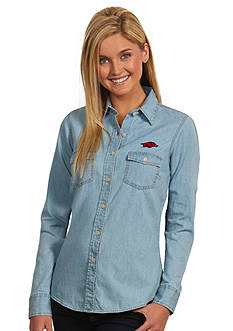 Antigua Arkansas Razorbacks Long Sleeve Chambray Shirt