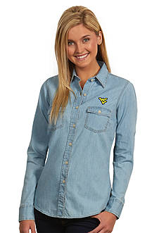 Antigua West Virginia Mountaineers Long Sleeve Chambray Shirt