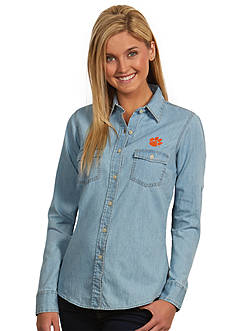 Antigua Clemson Tigers Long Sleeve Chambray Shirt