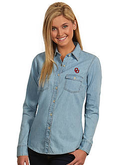 Antigua Oklahoma Sooners Long Sleeve Chambray Shirt