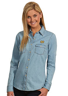Antigua Notre Dame Fighting Irish Long Sleeve Chambray Shirt