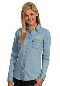 Antigua Michigan Wolverines Long Sleeve Chambray Shirt