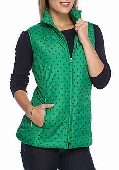 Kim Rogers Petite Microfiber Quilted Polka Dot Vest