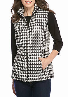 Kim Rogers Quilted Houndstooth Print Vest