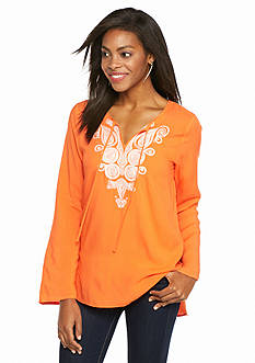 Melissa Paige Embroidered Peasant Top