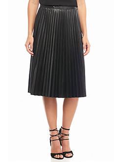Melissa Paige Faux Leather Pleated Skirt