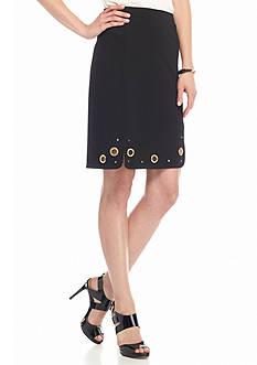 Melissa Paige Grommet Detail Ponte Skirt