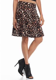 Melissa Paige Animal Print Scuba Skater Skirt