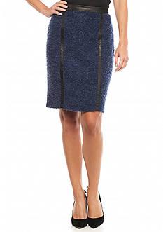 Melissa Paige Faux Leather Trim Detail Pencil Skirt
