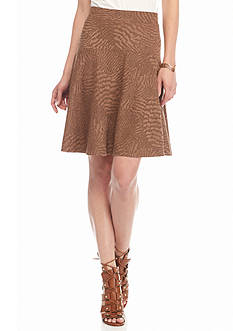 Melissa Paige Embossed Faux Suede Skater Skirt