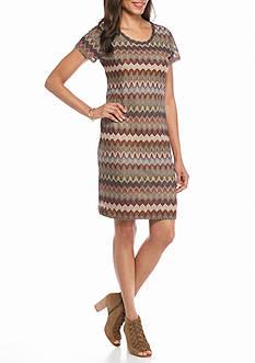 Melissa Paige Textured Chevron Short Sleeve Dress