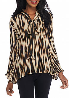 Melissa Paige Pleated Leopard Bow Blouse