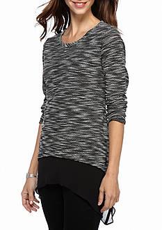 Melissa Paige Long Sleeve Shark Bite Space Dye 2-Fer Top