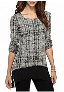 Melissa Paige Long Sleeve Shark Bite Plaid 2Fer