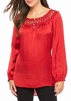 Melissa Paige Three-Quarter Sleeve Crochet Neck Blouse