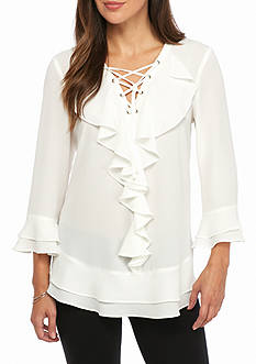 Melissa Paige Women's Three-Quarter Sleeve Ruffle Lace-Up Top