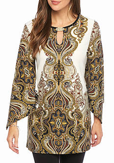 Melissa Paige Women's Three-Quarter Sleeve Posh Paisley Tunic