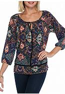 Melissa Paige Embroidery Detail Knit Peasant Top