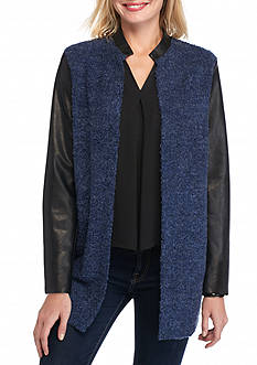 Melissa Paige Boucle Wool and Faux Leather Long Jacket