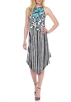 Melissa Paige Striped Floral Halter Dress