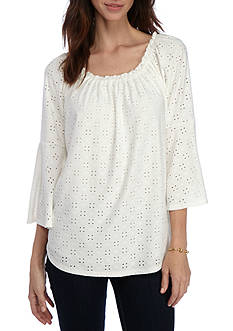 Melissa Paige Eyelet Knit Top