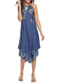 Melissa Paige Denim Print Halter Dress