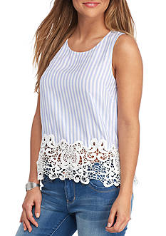 Everly Sleeveless Striped Crochet Trim Tank