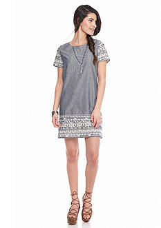 Everly Short Sleeve Chambray Shift Dress