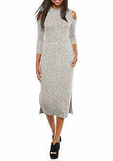 Everly Ribbed Cold Shoulder Midi Dress