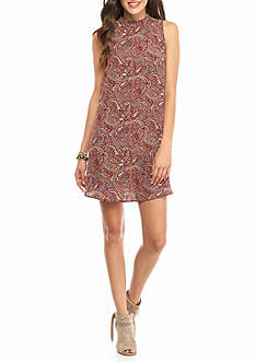 Everly Paisley Print Mock Dress