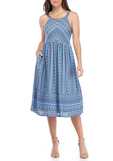 Everly Pleated Midi Print Dress