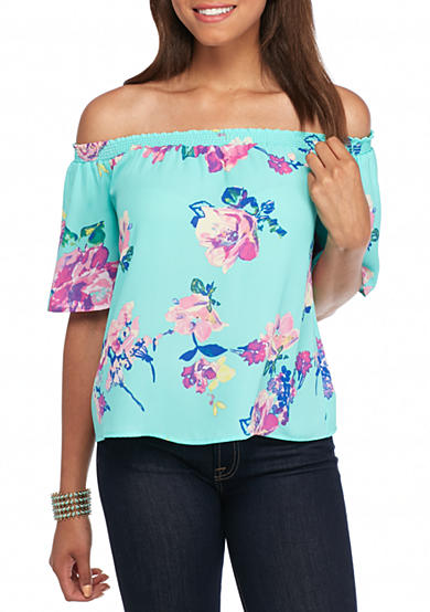 Everly Off The Shoulder Floral Print Blouse