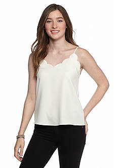 Everly Scalloped Tank Solid