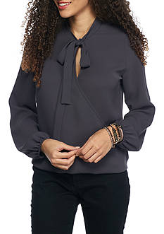 Everly Long Sleeve Tie Neck Surplice Blouse