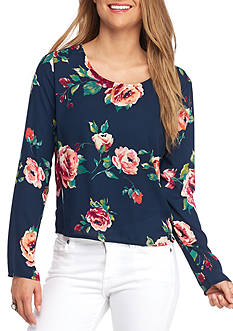 Everly Floral Print Back Tie Blouse