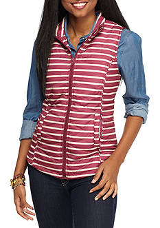 Red Camel Striped Puffer Vest