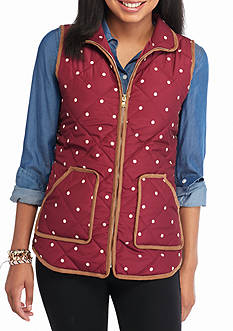 Red Camel Polka Dot Puffer Vest